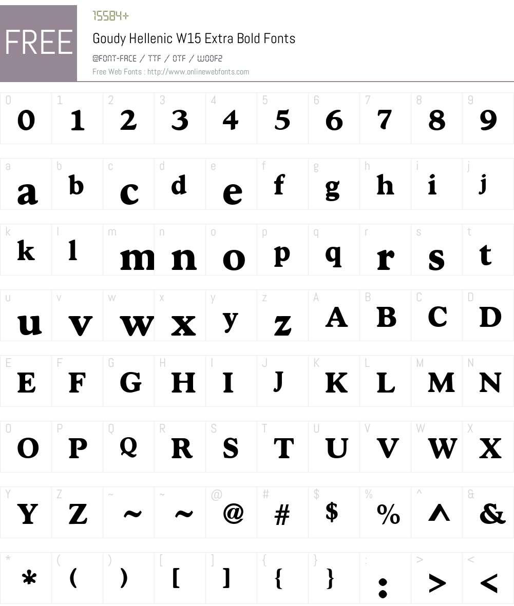 GoudyHellenicW15-ExtraBold Font Screenshots