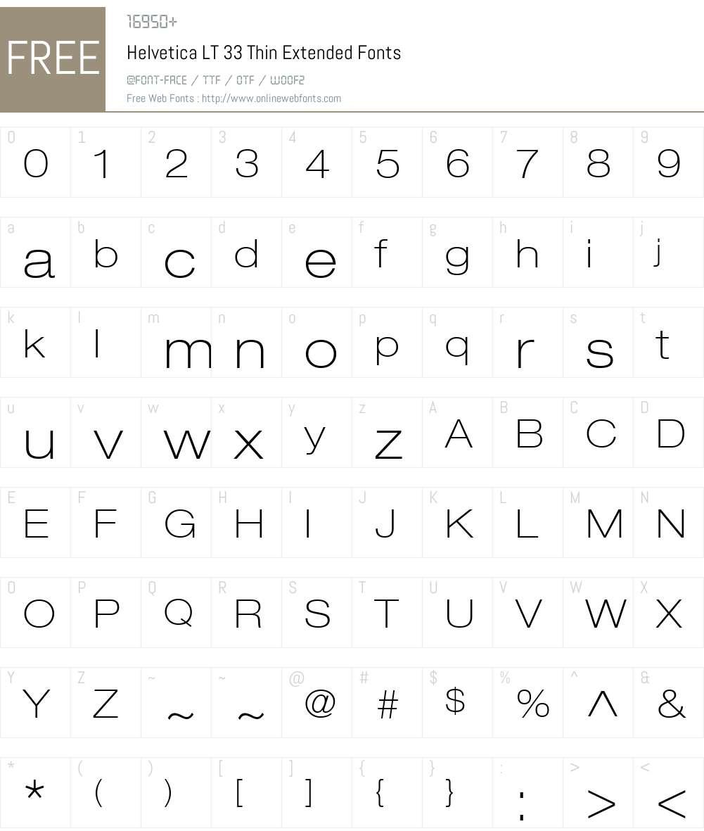 HelveticaNeue LT 33 ThinEx Font Screenshots