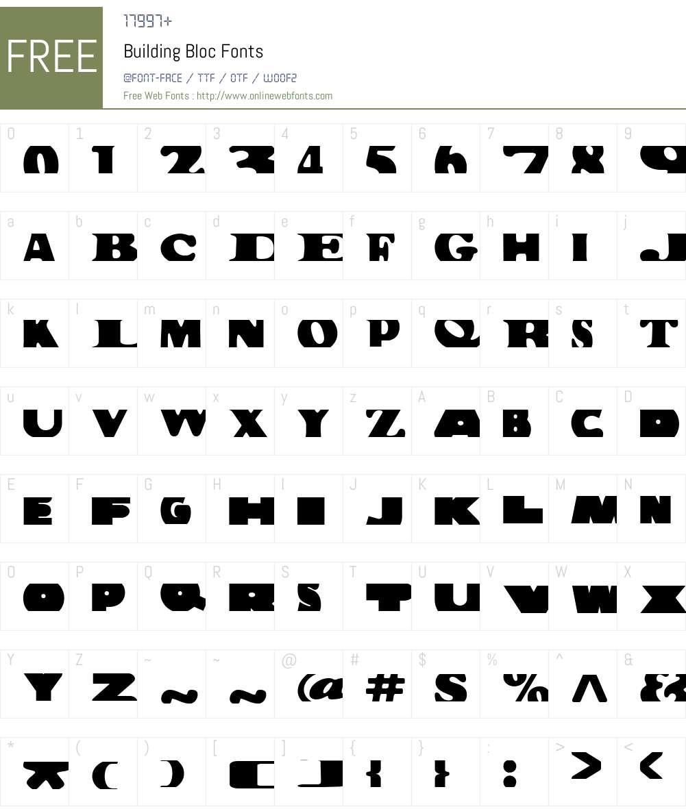 Building Bloc Font Screenshots