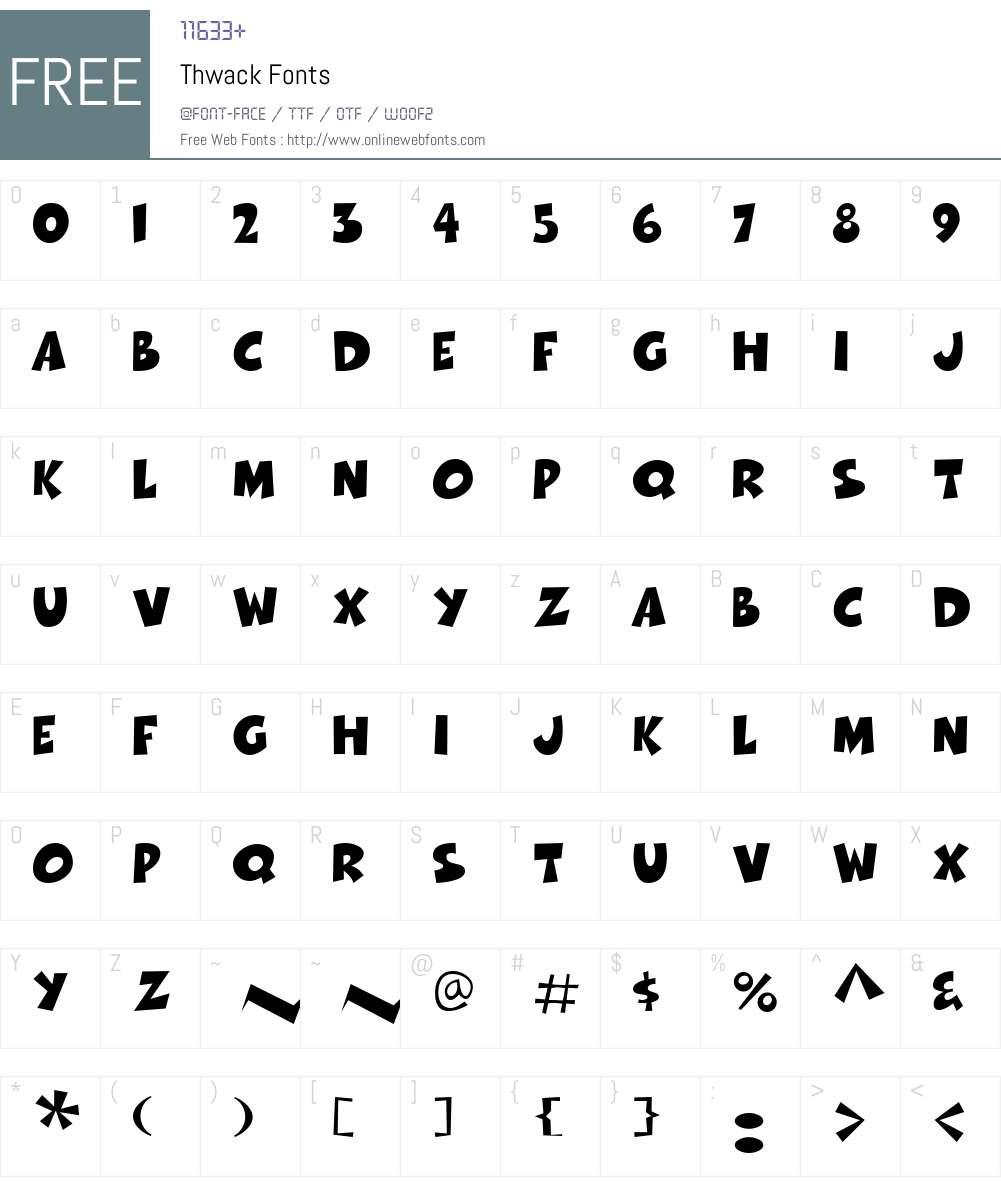 Thwack Font Screenshots