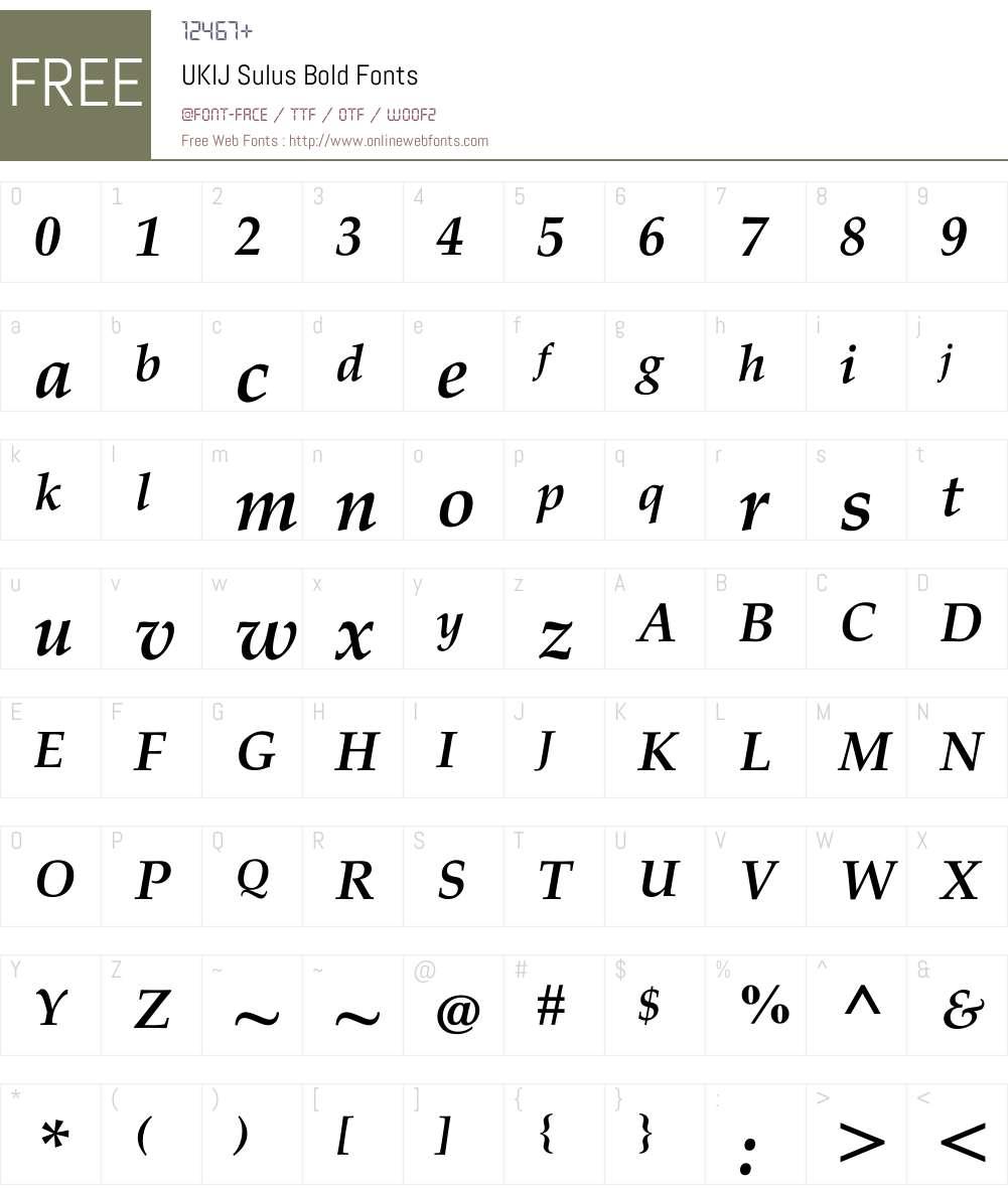 UKIJ Sulus Font Screenshots