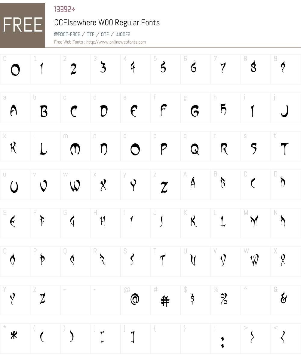 CCElsewhereW00-Regular Font Screenshots