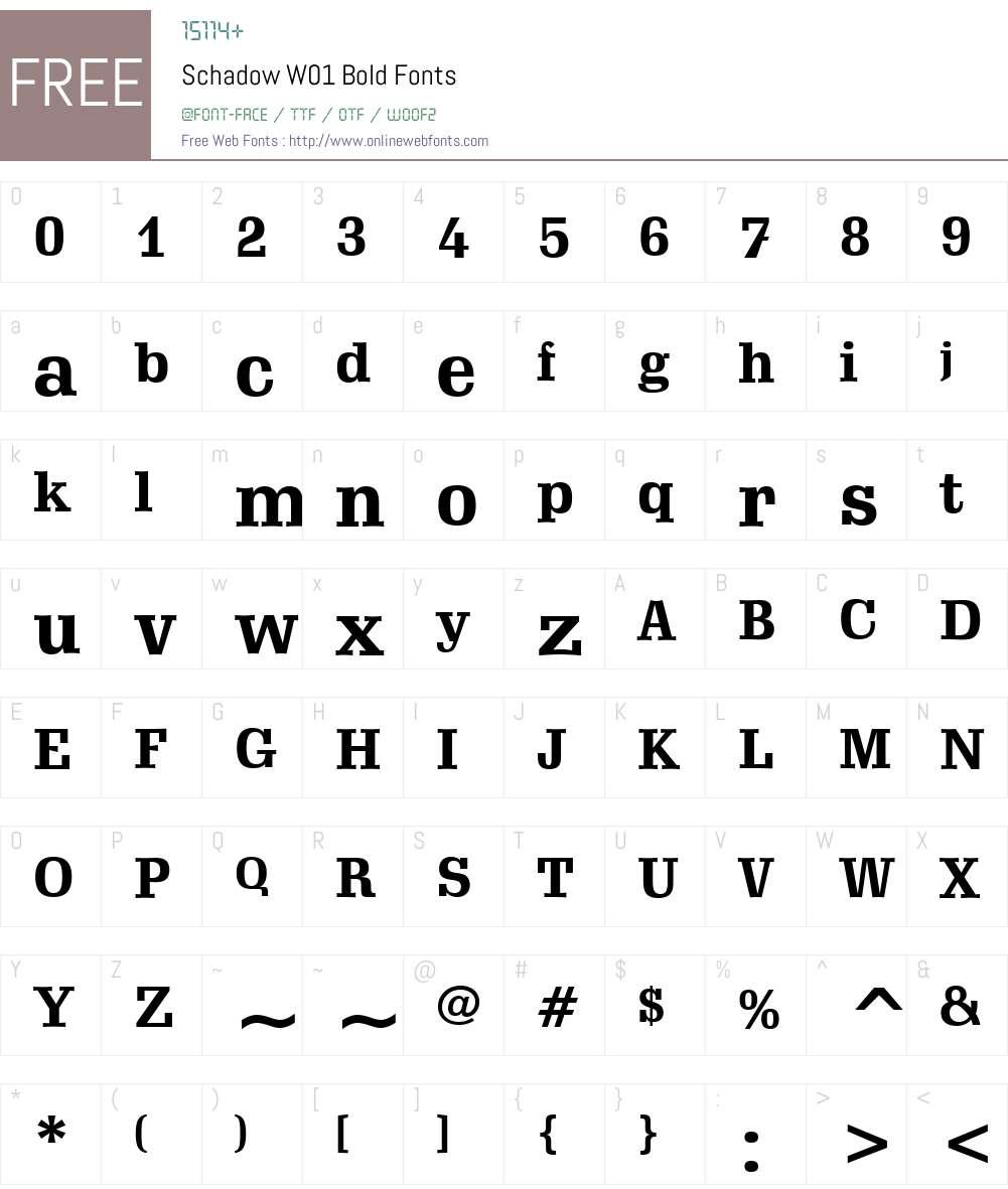 SchadowW01-Bold Font Screenshots