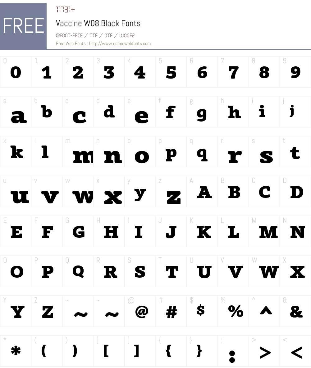 VaccineW08-Black Font Screenshots