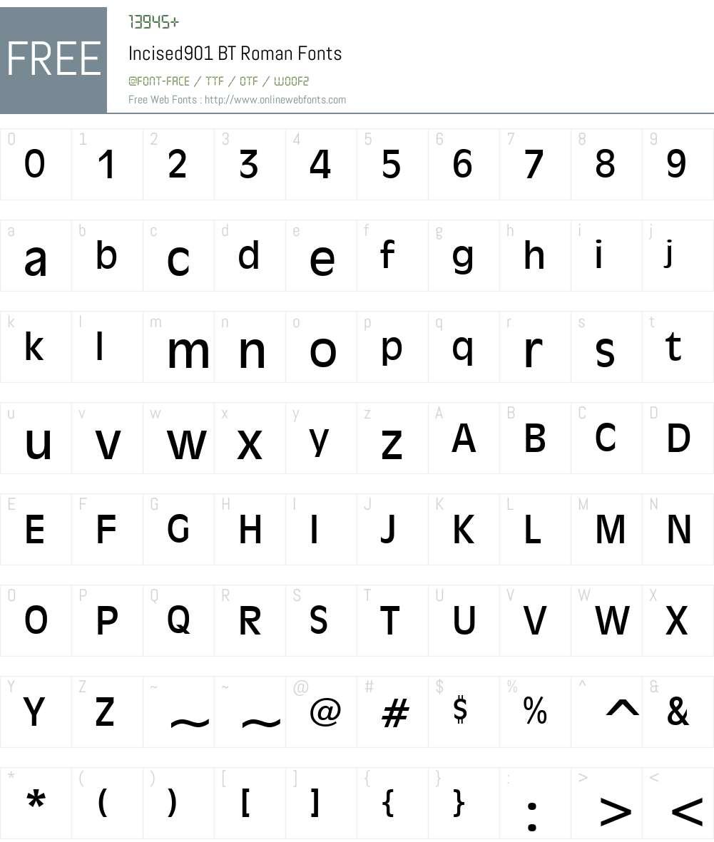 Incised901 BT Font Screenshots
