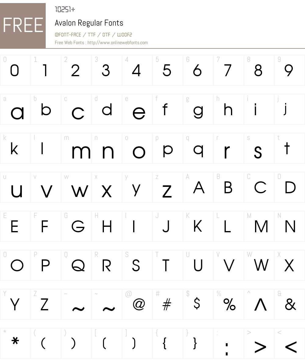 Avalon Font Screenshots