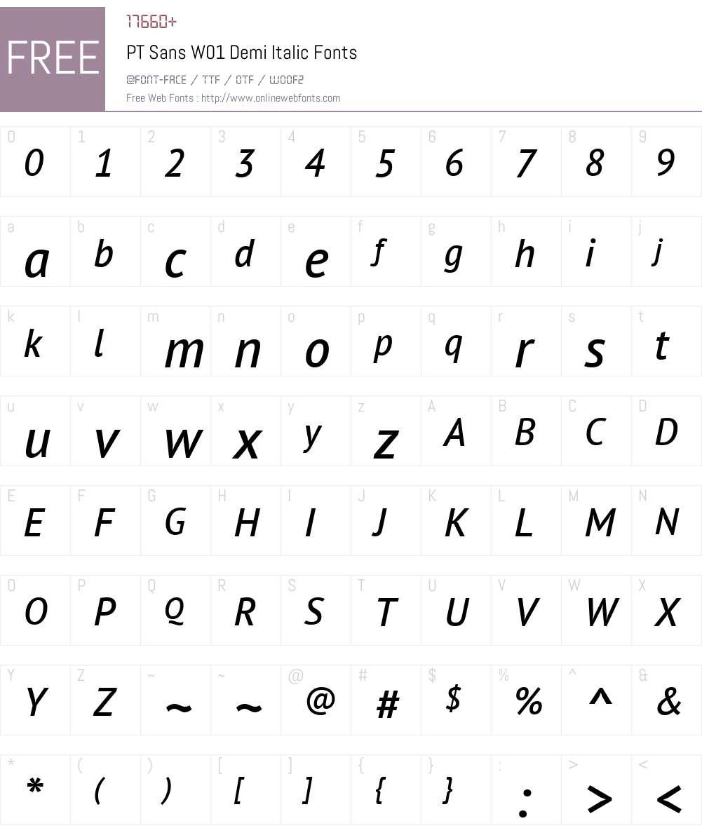 PTSansW01-DemiItalic Font Screenshots