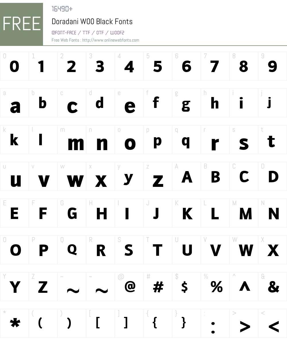 DoradaniW00-Black Font Screenshots