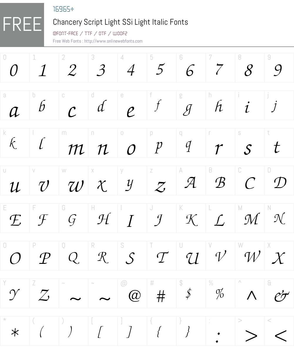 Chancery Script Light SSi Font Screenshots