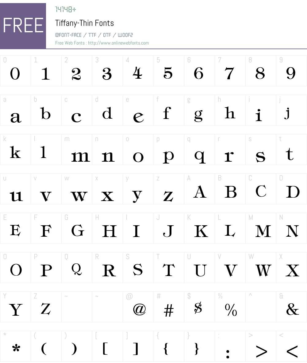 Tiffany-Thin Font Screenshots