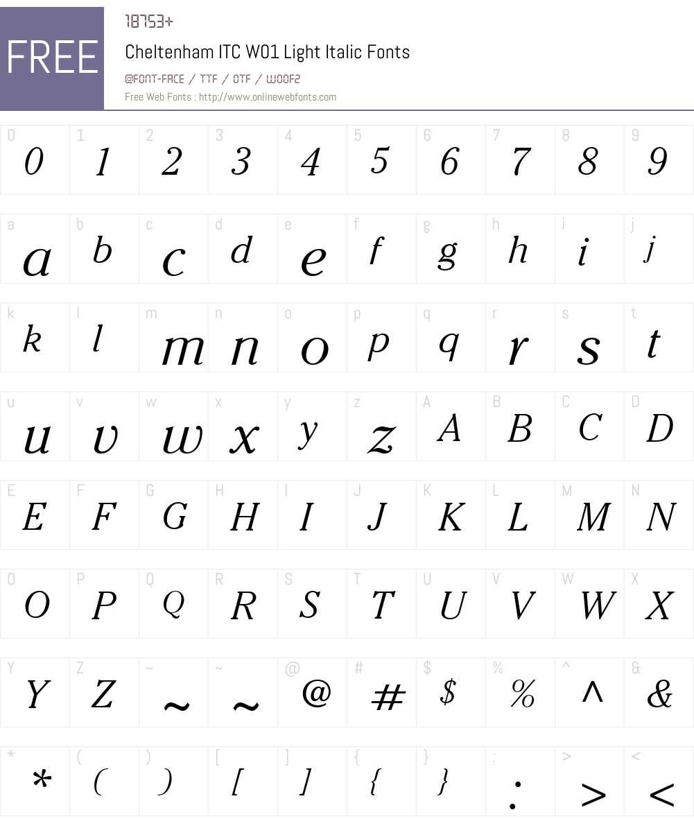 CheltenhamITCW01-LtItalic Font Screenshots