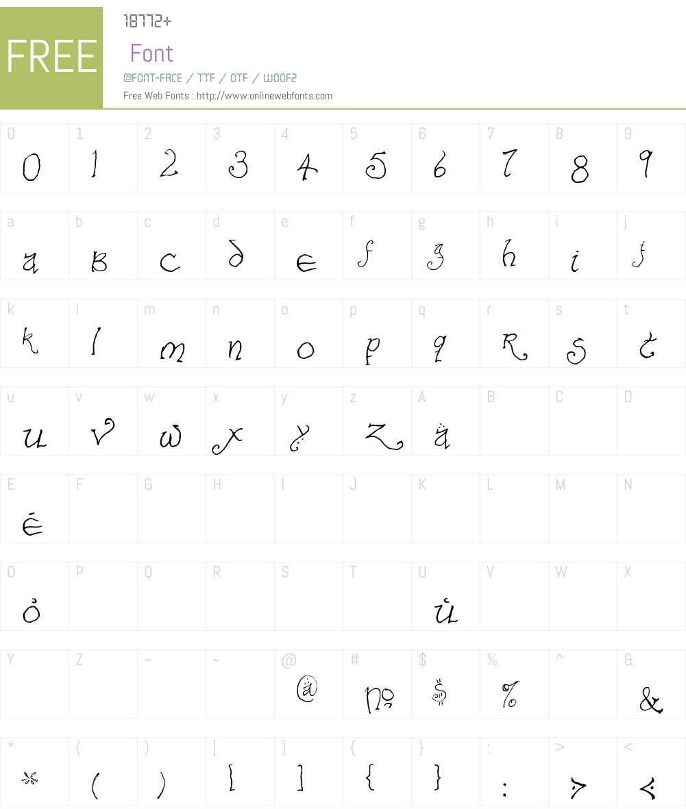 Bilbo-hand Font Screenshots