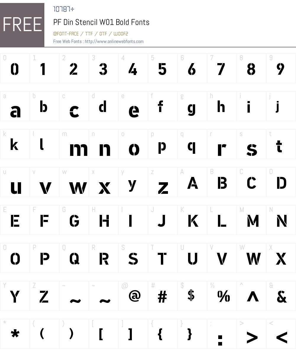 PFDinStencilW01-Bold Font Screenshots