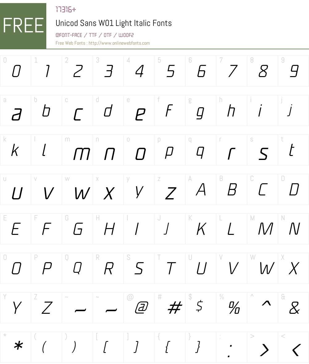 UnicodSansW01-LightItalic Font Screenshots