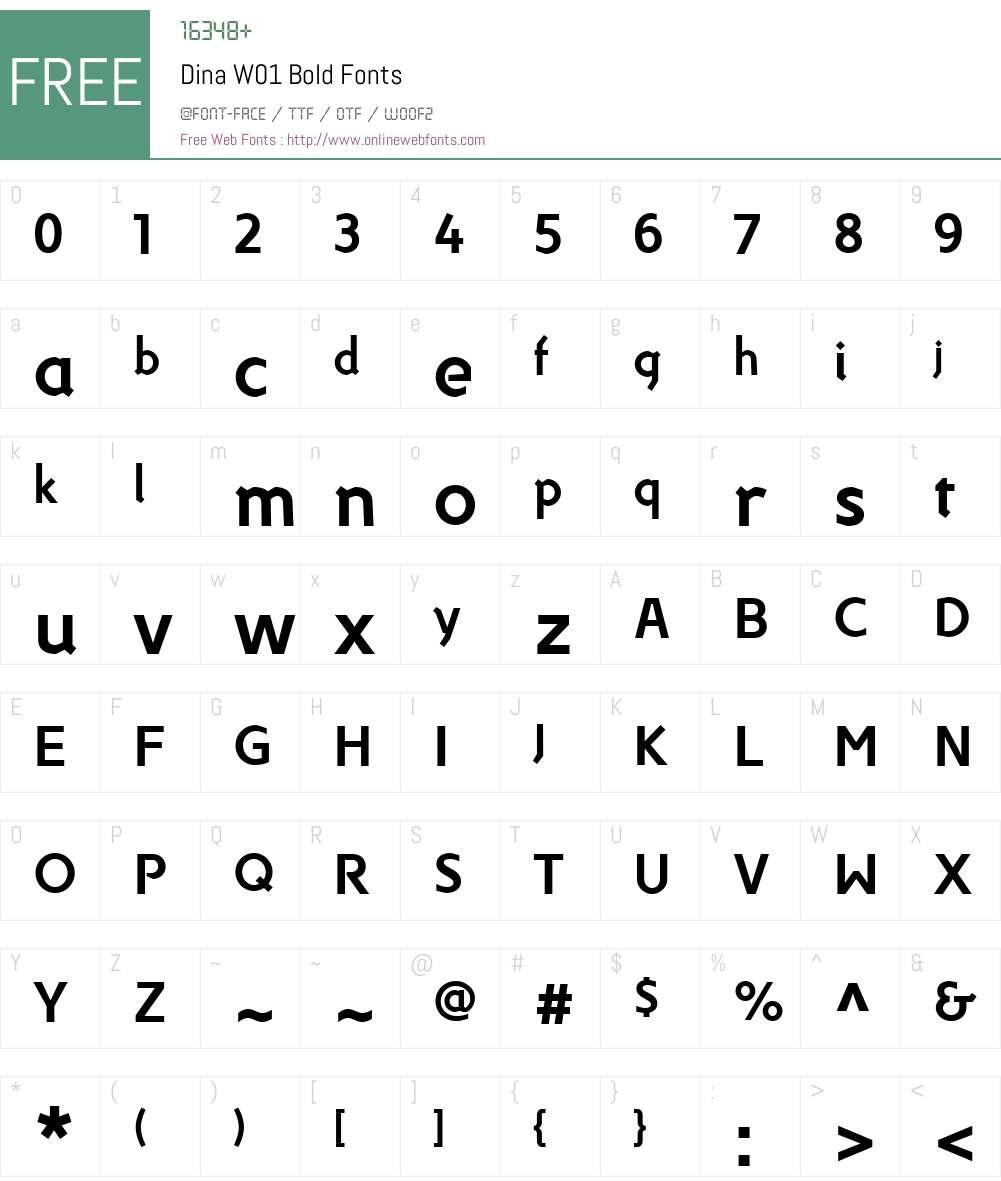 DinaW01-Bold Font Screenshots