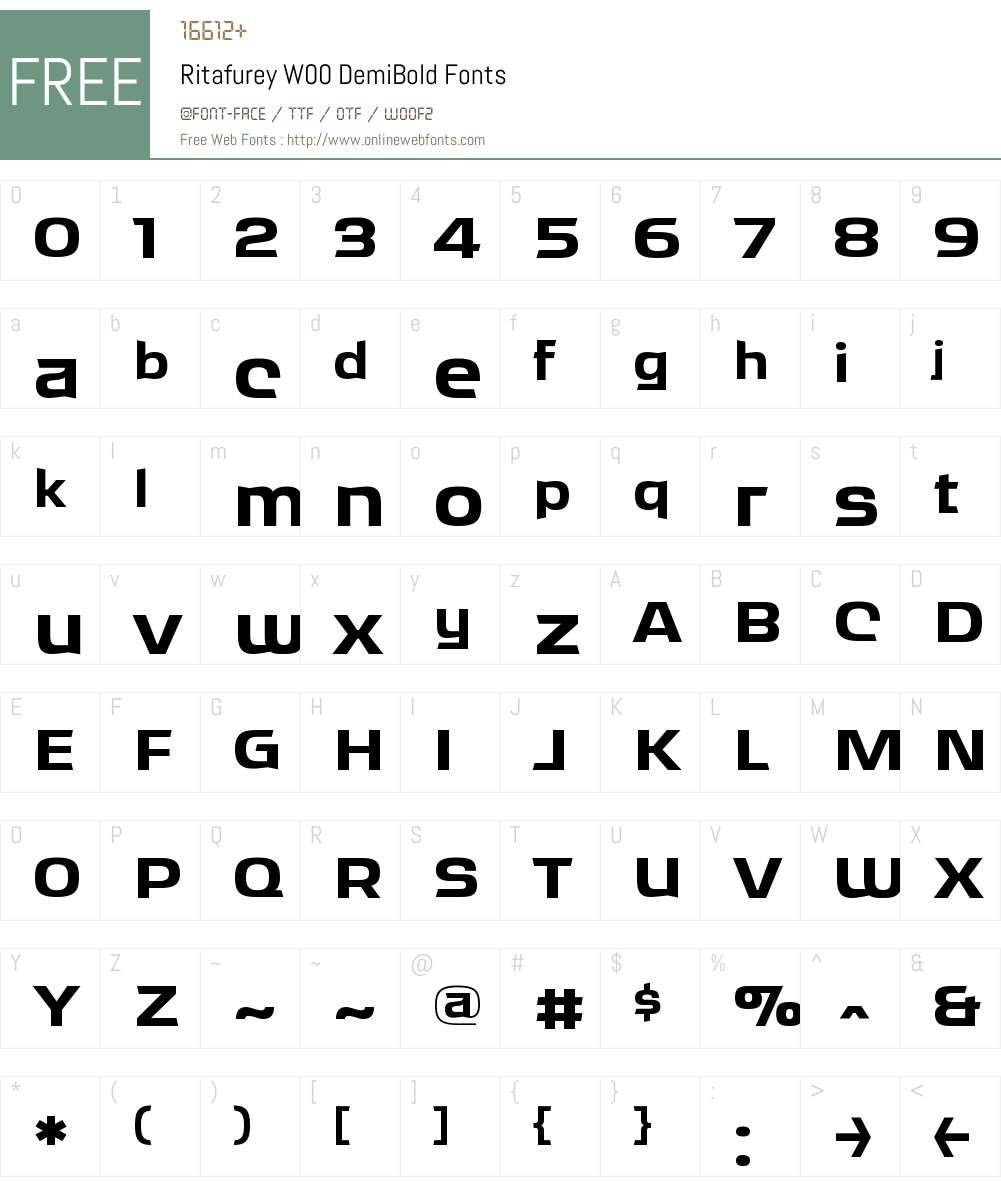 RitafureyW00-DemiBold Font Screenshots