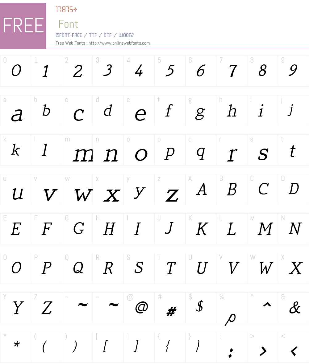 QuickTypeW01-PlainItalic Font Screenshots