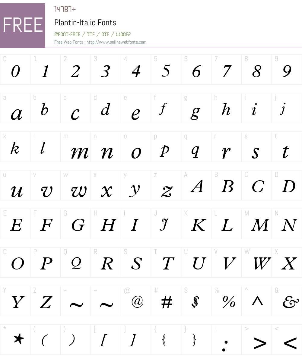 Plantin Font Screenshots