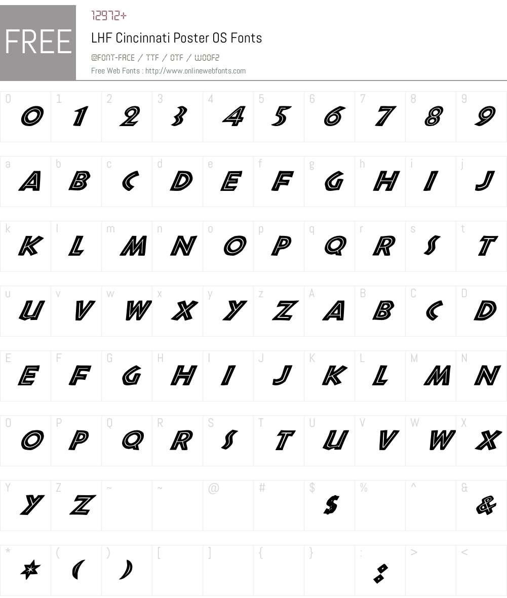 LHF Cincinnati Poster OS Font Screenshots