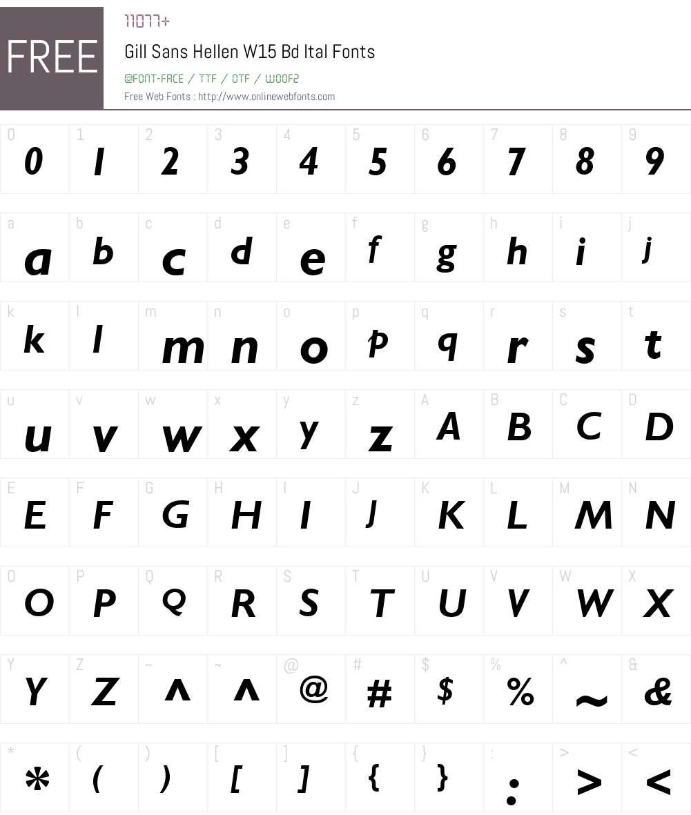 GillSansHellenW15-BdItal Font Screenshots