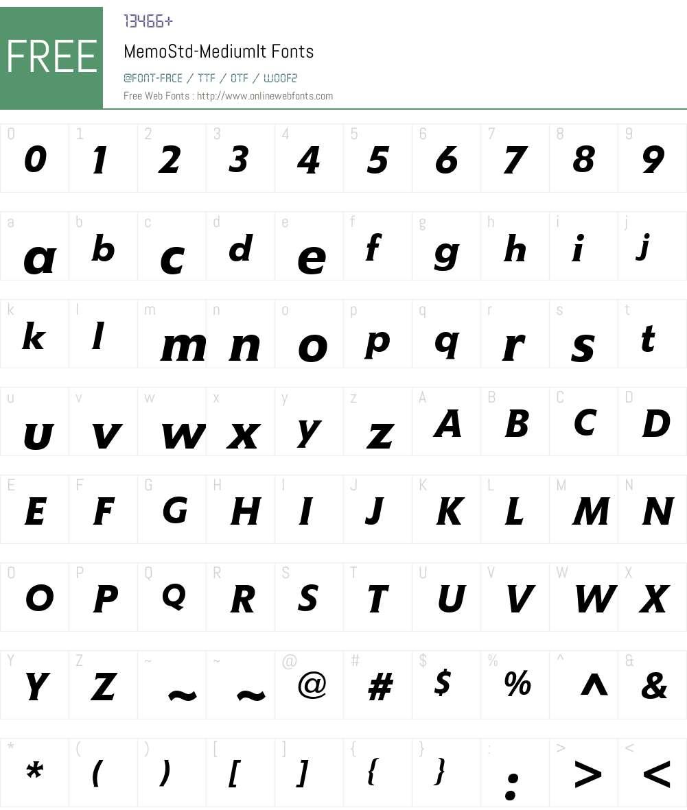 MemoStd-MediumIt Font Screenshots