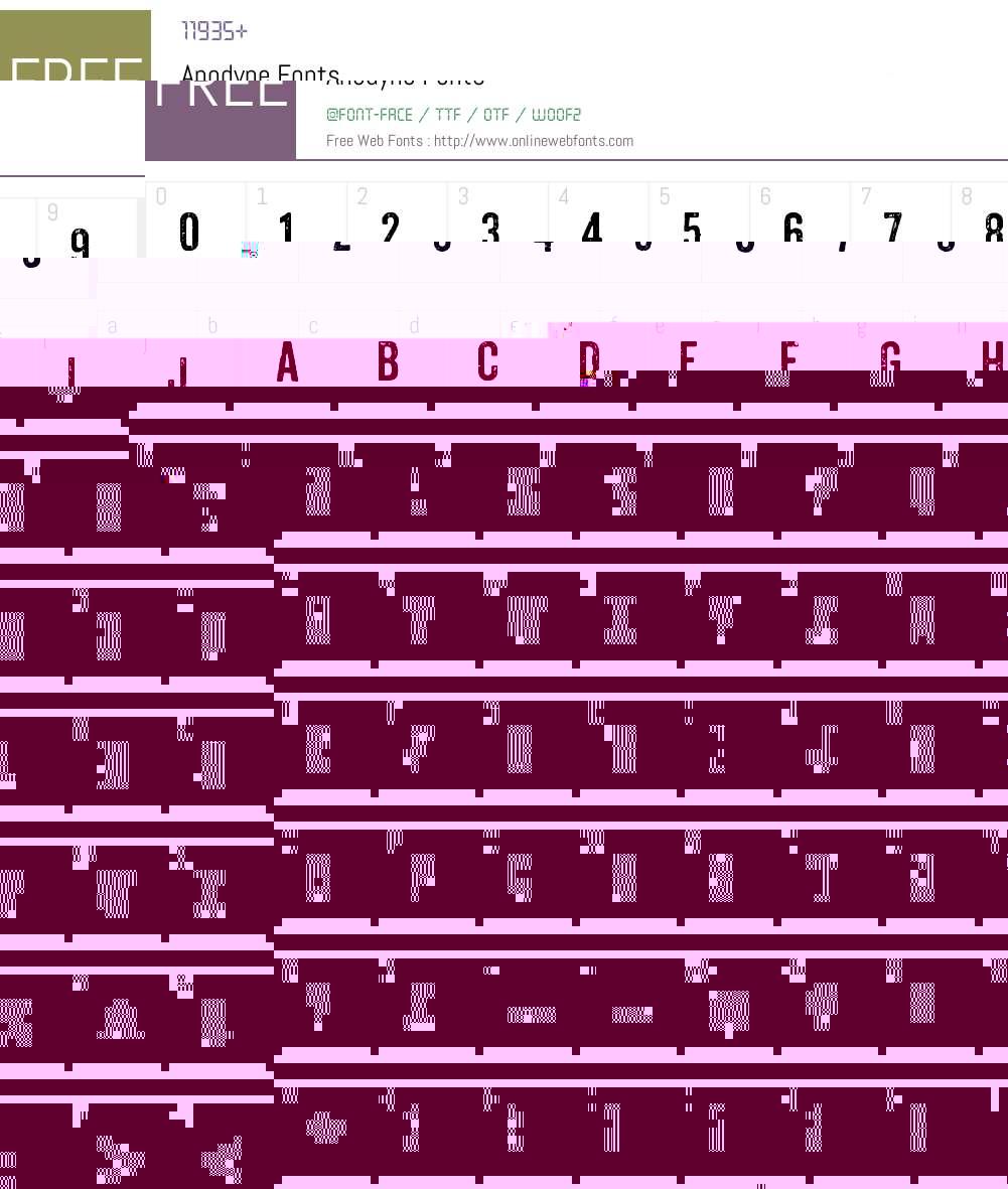 Anodyne Font Screenshots