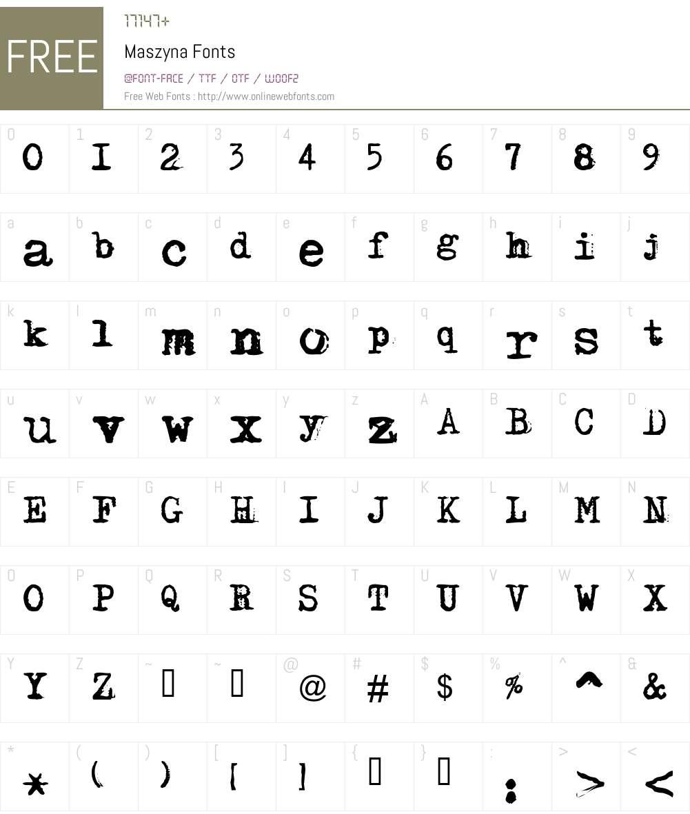 Maszyna Plus Font Screenshots