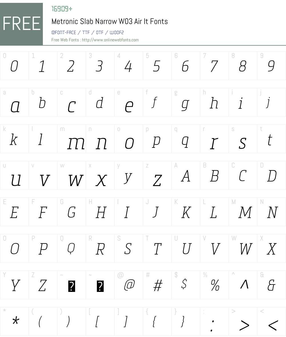 Metronic Slab Narrow Font Screenshots