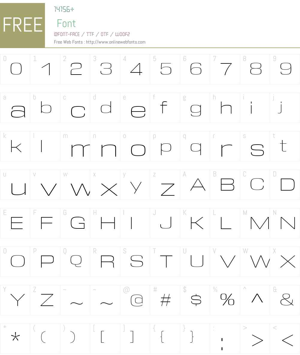 DDTW00-ExtendedExtraLight Font Screenshots