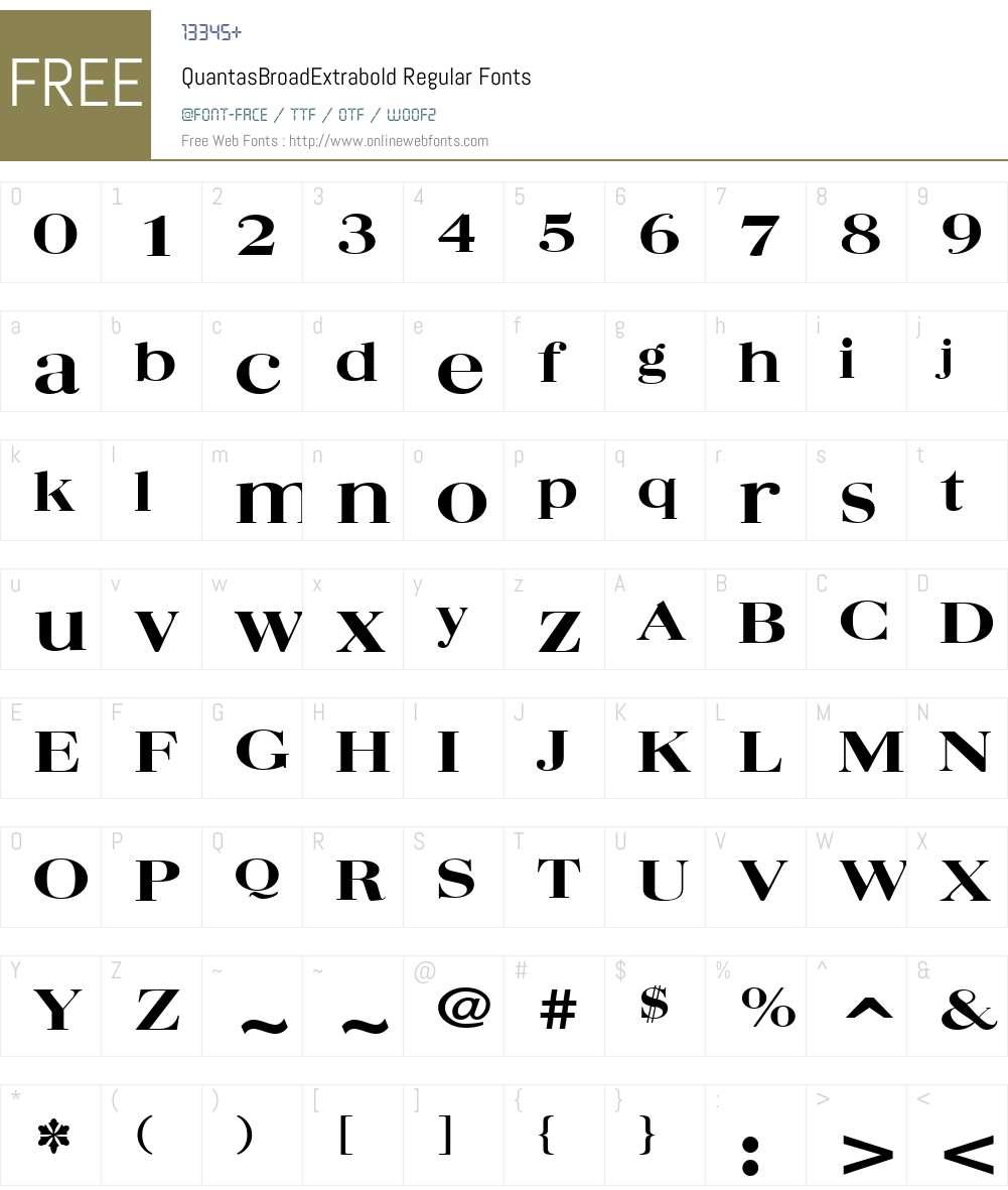 QuantasBroadExtrabold Font Screenshots