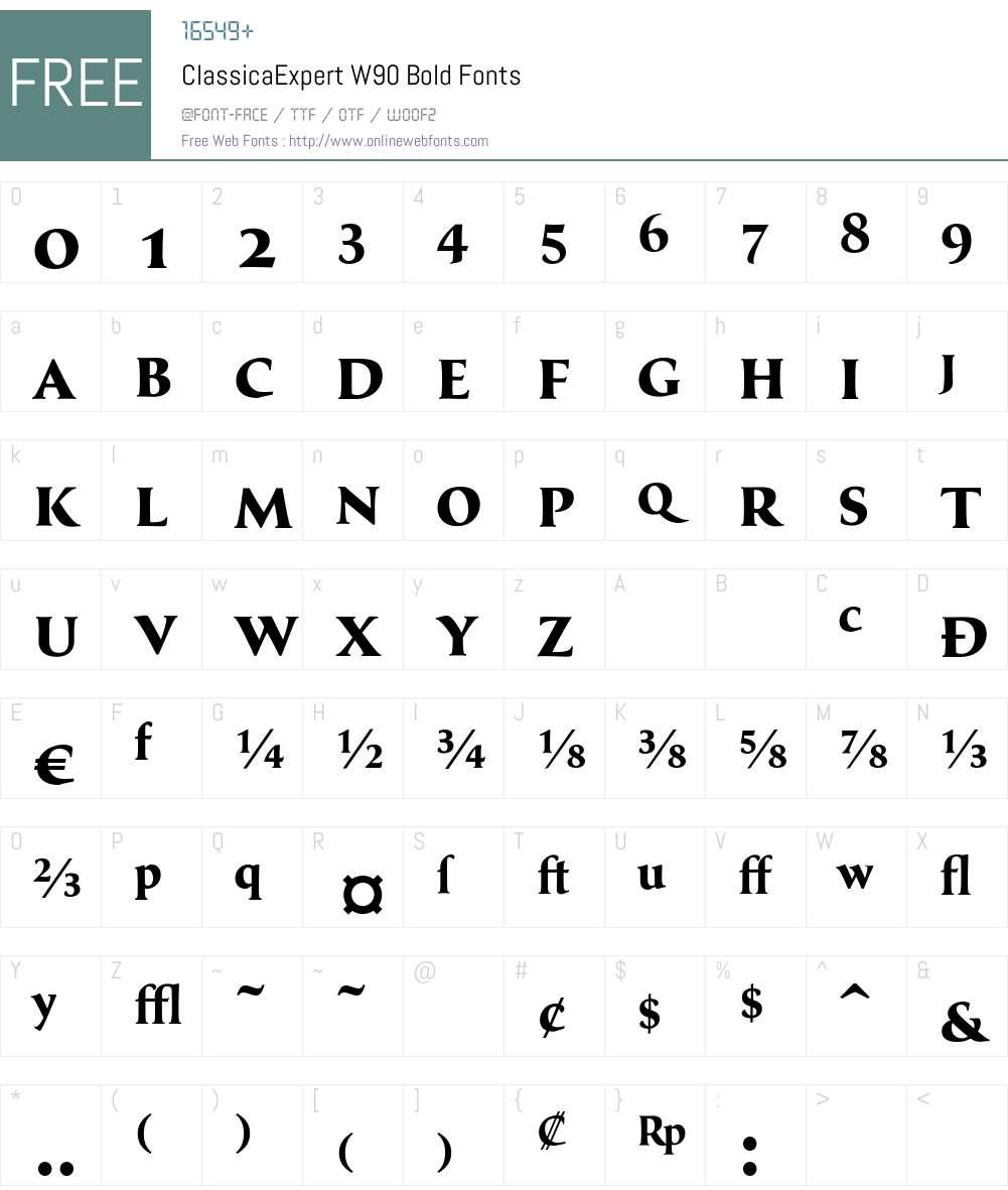 ClassicaExpertW90-Bold Font Screenshots
