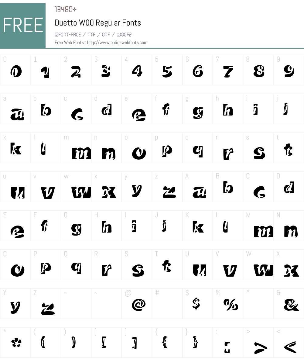 DuettoW00-Regular Font Screenshots