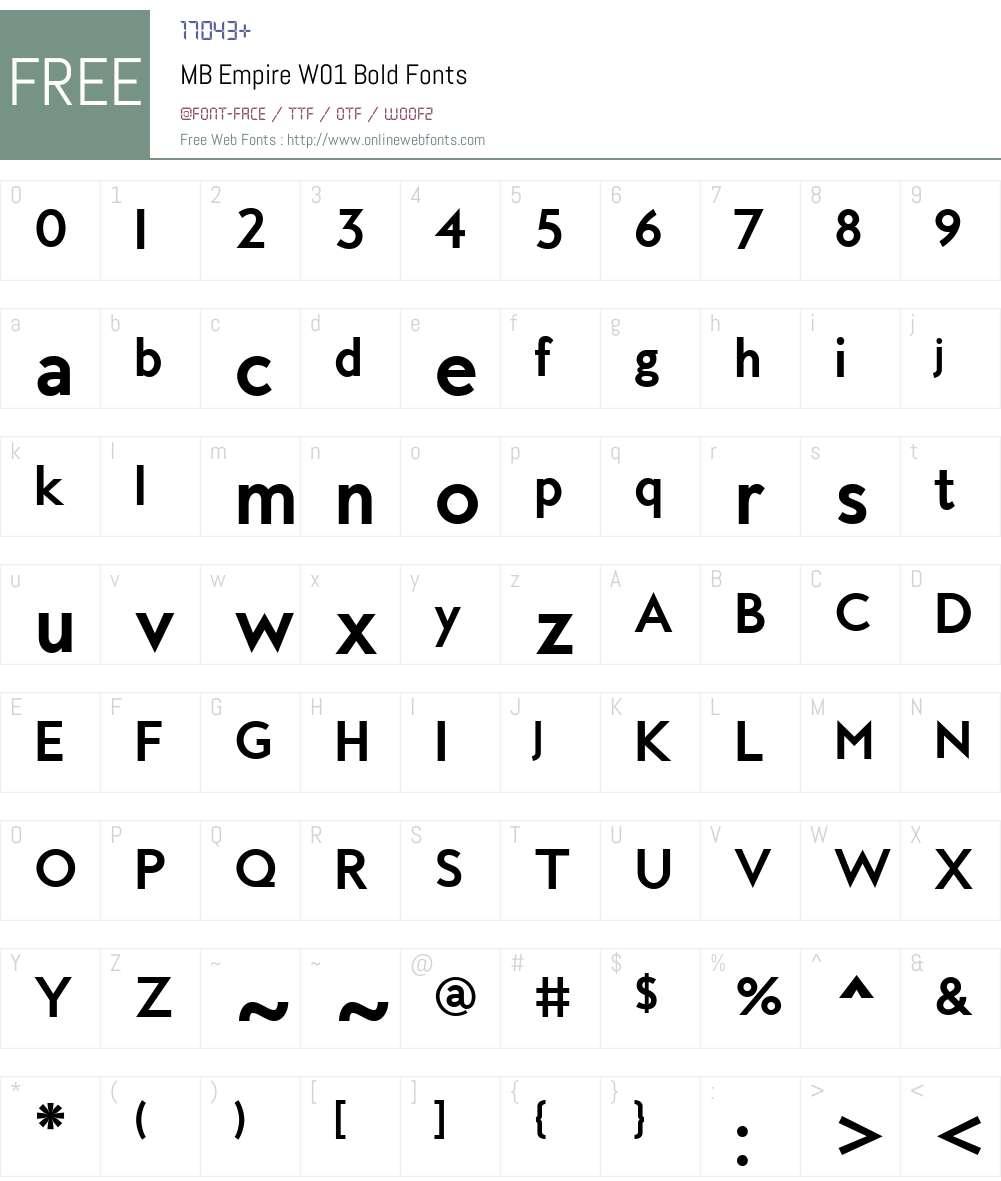 MBEmpireW01-Bold Font Screenshots