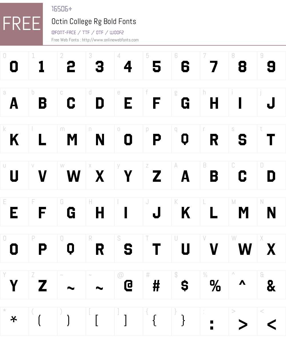 Octin College Font Screenshots