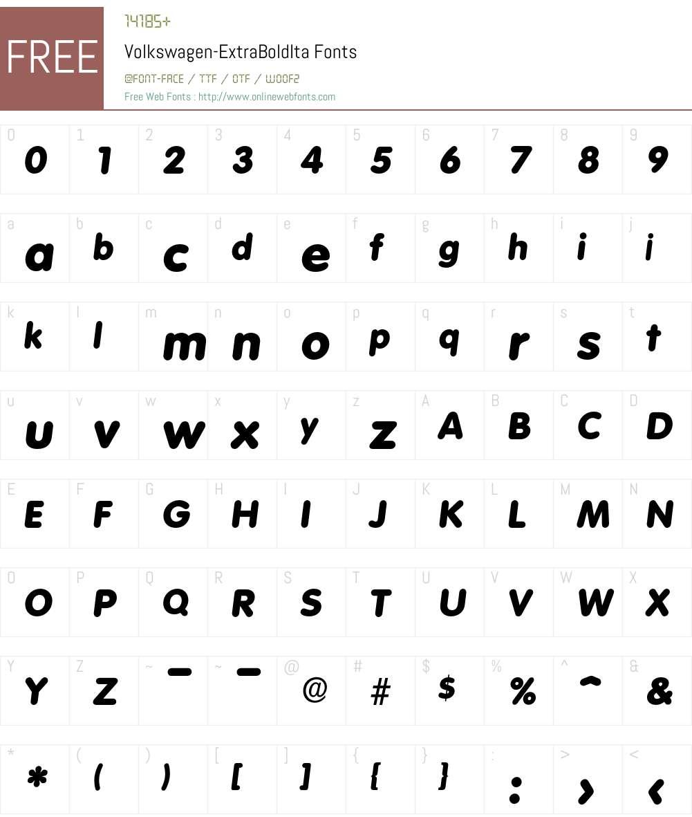 Volkswagen-ExtraBoldIta Font Screenshots