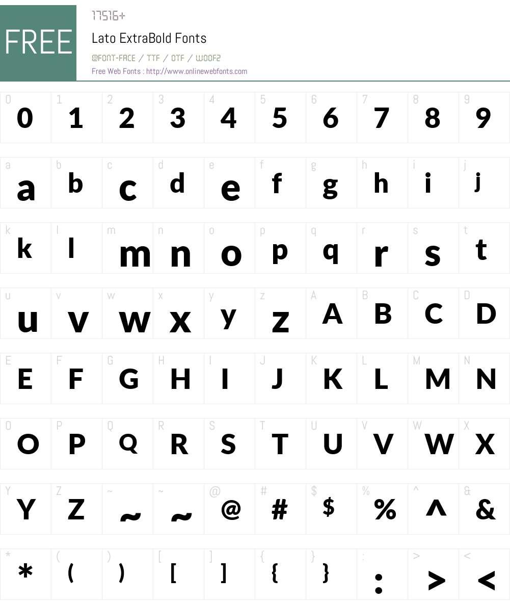 Lato ExtraBold Font Screenshots