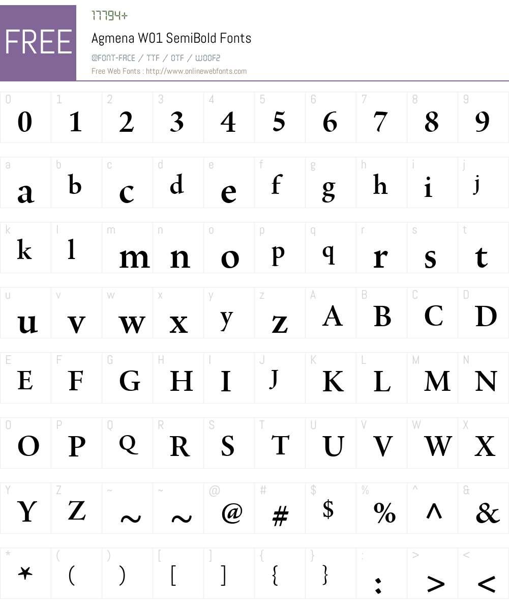 AgmenaW01-SemiBold Font Screenshots
