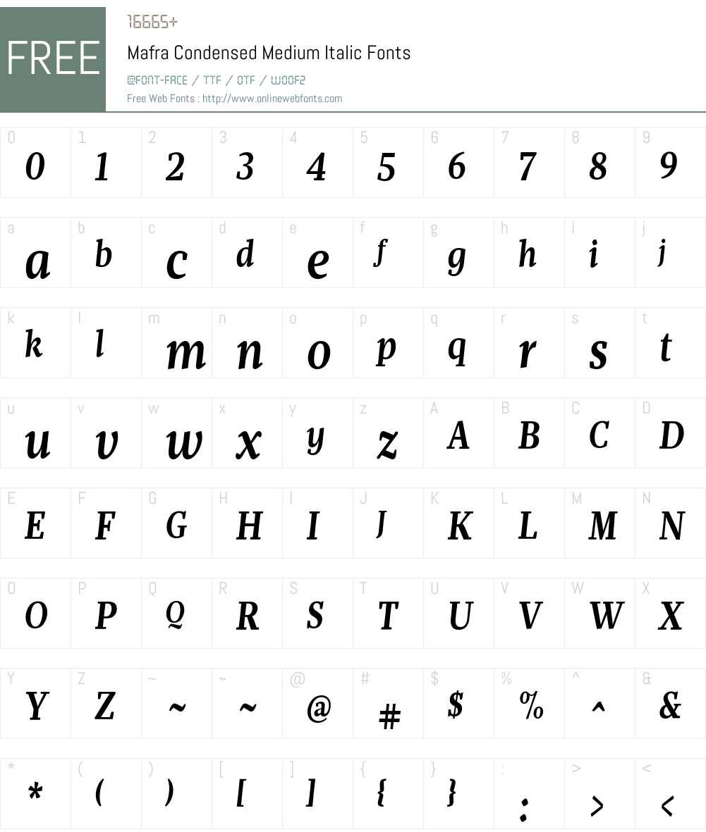 Mafra Condensed Medium Italic Font Screenshots