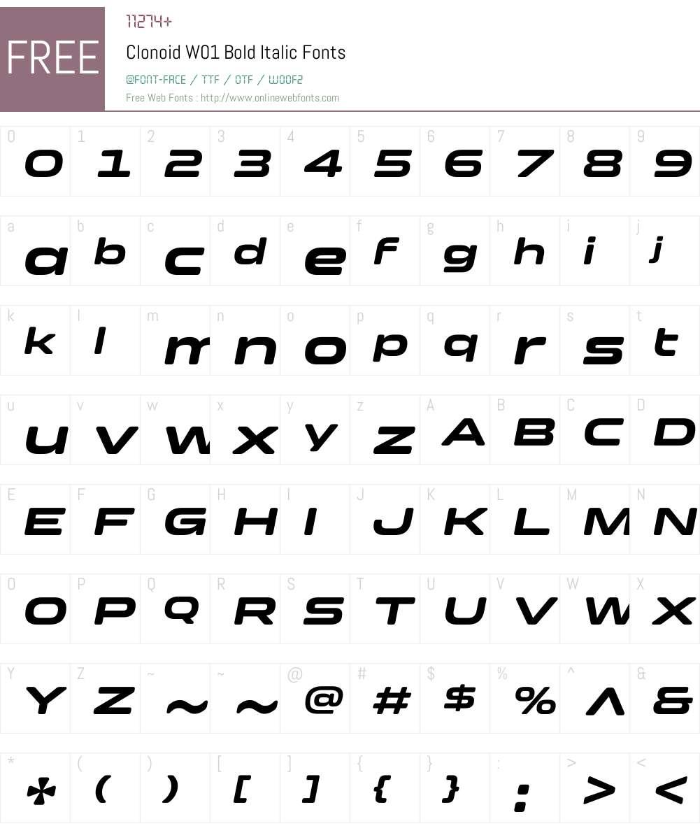 ClonoidW01-BoldItalic Font Screenshots