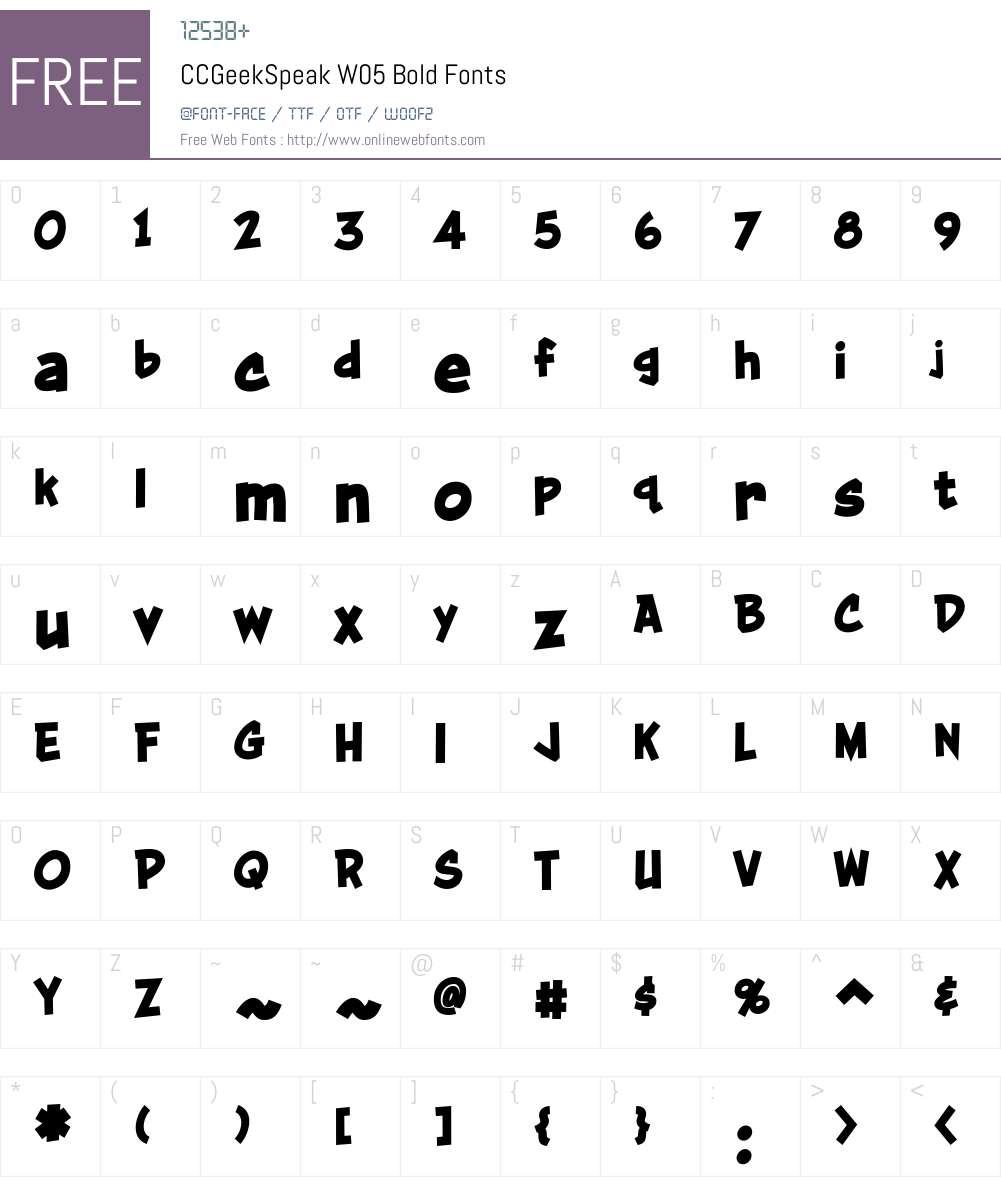 CCGeekSpeakW05-Bold Font Screenshots