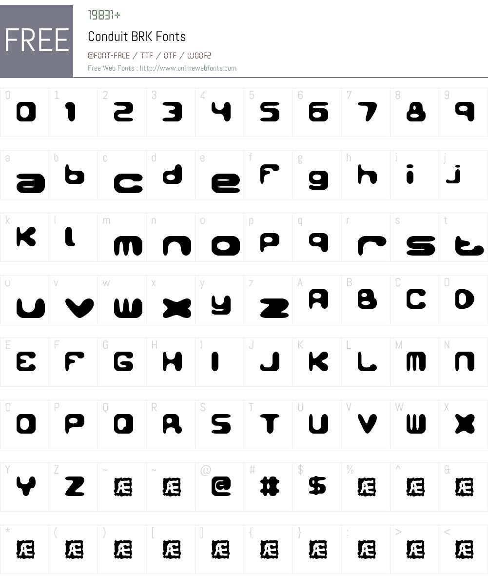 Conduit BRK Font Screenshots