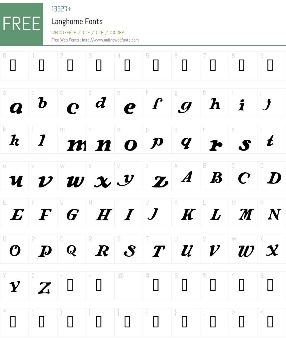 Langhorne Font Screenshots