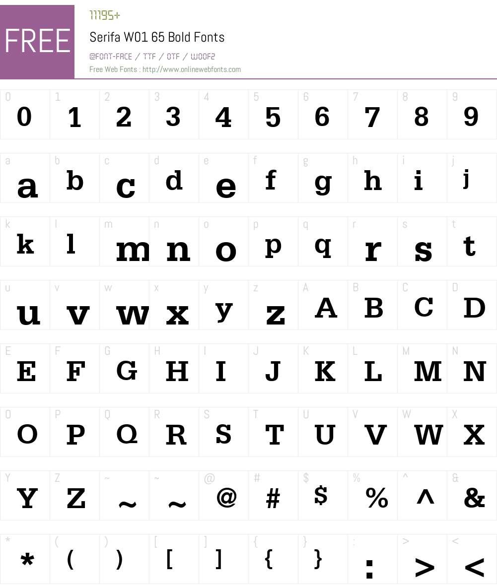SerifaW01-65Bold Font Screenshots