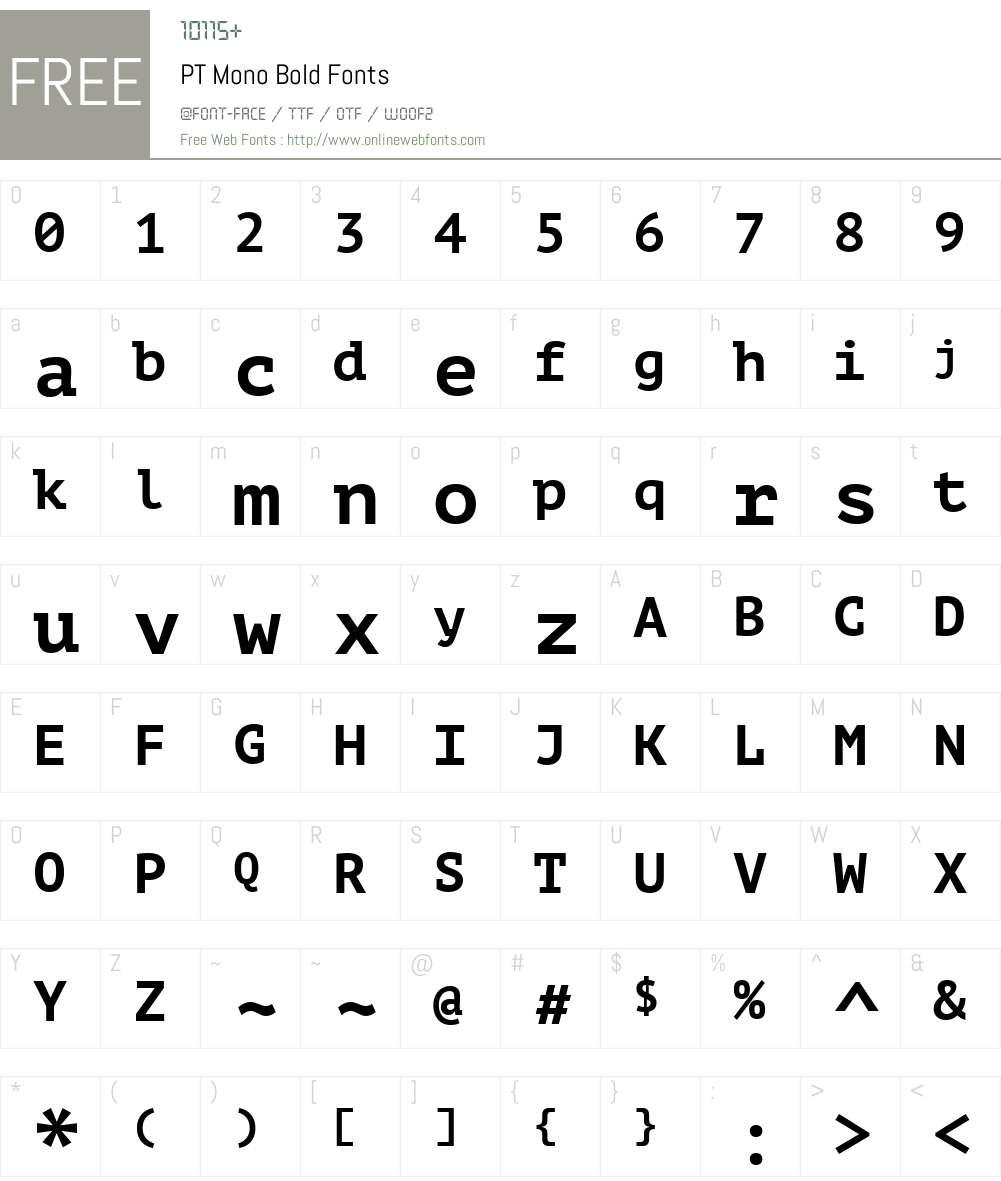 PT Mono Font Screenshots
