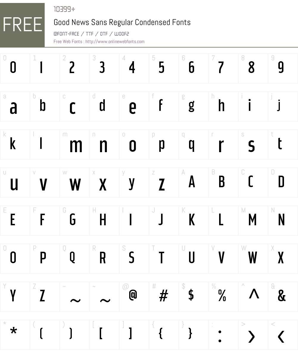 Good News Sans Regular Condense Font Screenshots