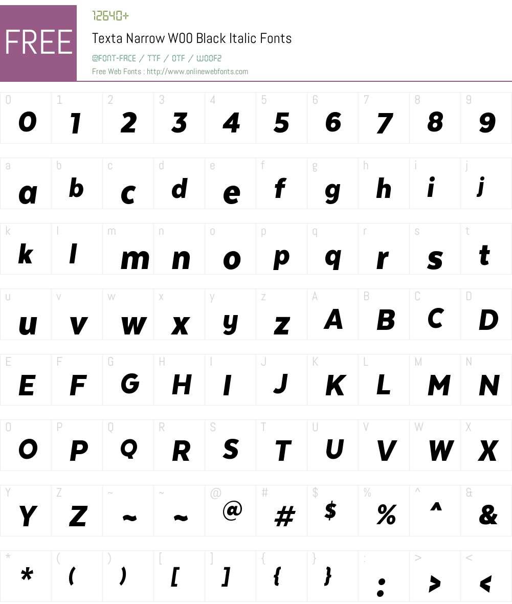 TextaNarrowW00-BlackItalic Font Screenshots
