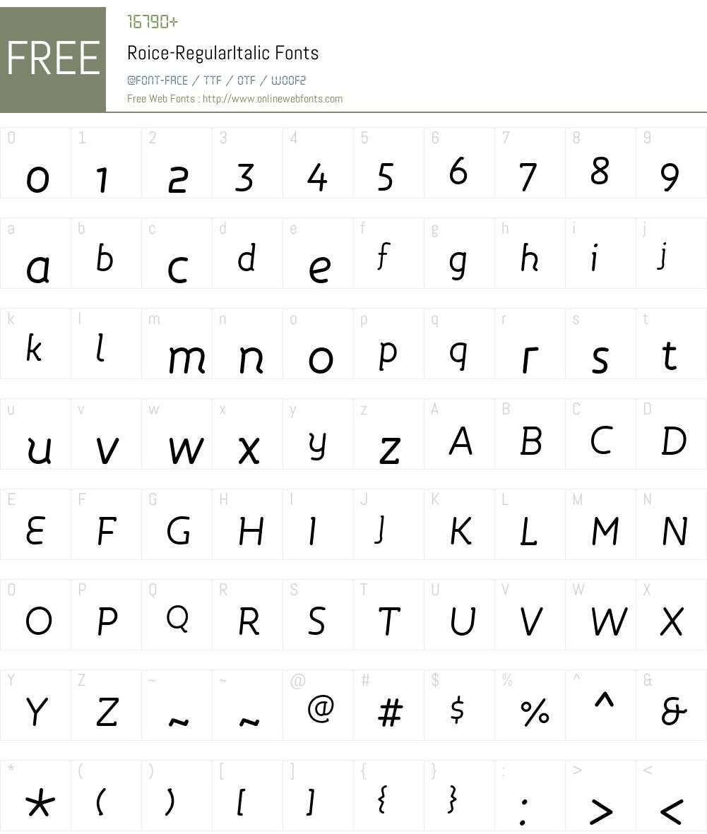 Roice-RegularItalic Font Screenshots