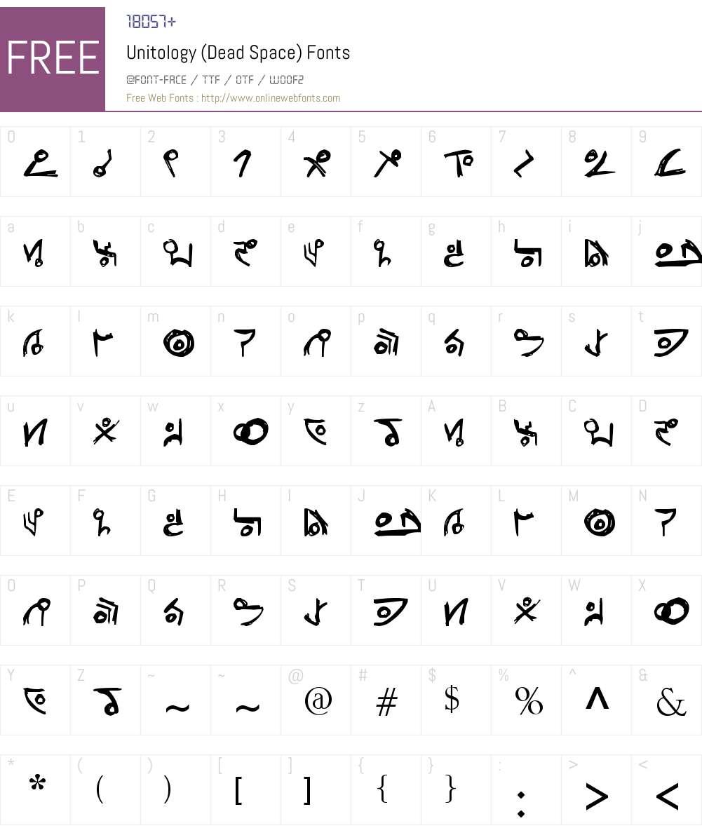 Unitology (Dead Space) Font Screenshots