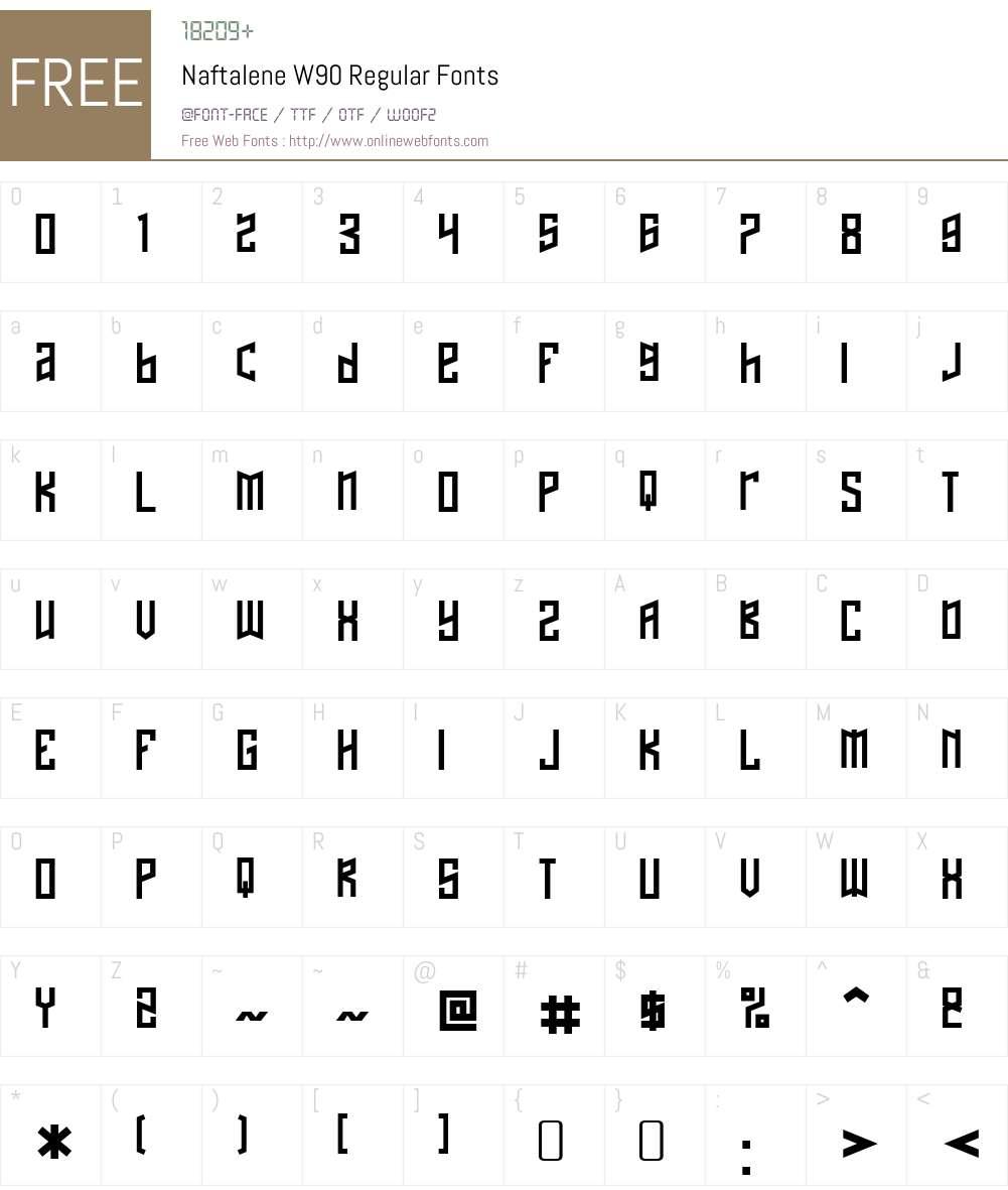NaftaleneW90-Regular Font Screenshots