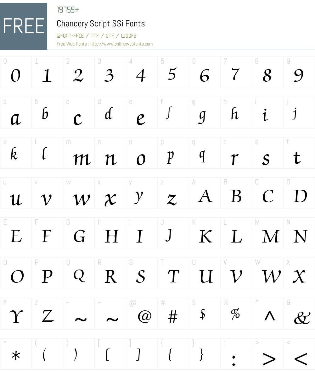 Chancery Script SSi Font Screenshots